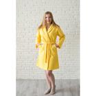 Халат женский, шалька+кант, размер 54, лимонный, вафля