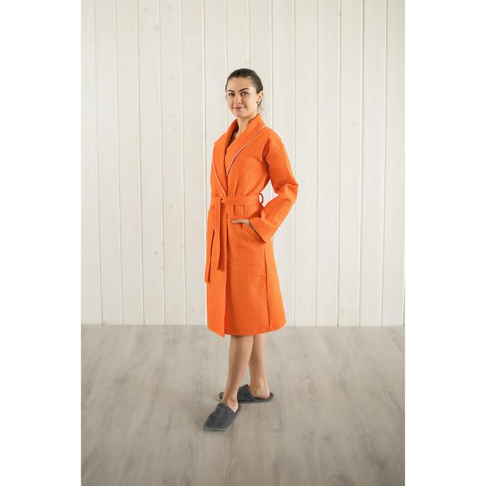 Халат женский, шалька+кант, размер 52, мандариновый, вафля