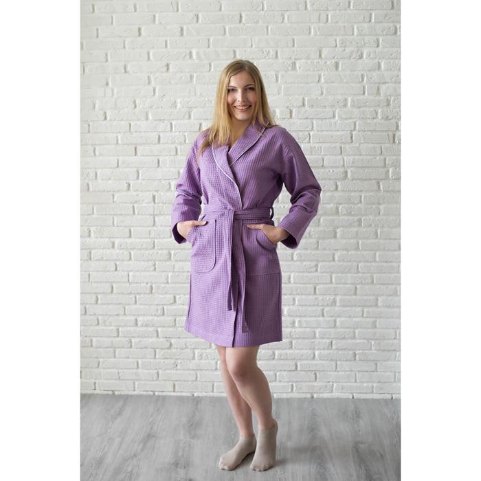 Халат женский, шалька+кант, размер 44, сирень, вафля