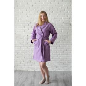 Халат женский, шалька+кант, размер 46, цвет сиреневый, вафля