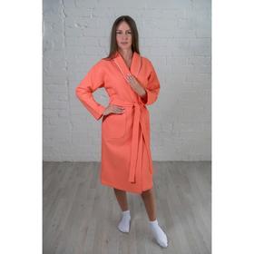Халат женский, шалька+кант, размер 44, цвет коралловый, вафля
