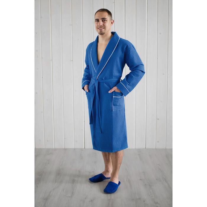 Халат мужской, шалька+кант, размер 54, синий, вафля