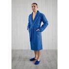 Халат мужской, шалька+кант, размер 56, синий, вафля