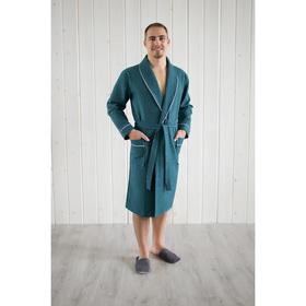 Халат мужской, шалька+кант, размер 48, цвет изумрудный, вафля