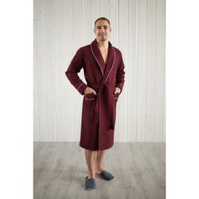 Халат мужской, шалька+кант, размер 48, цвет кирпичный, вафля