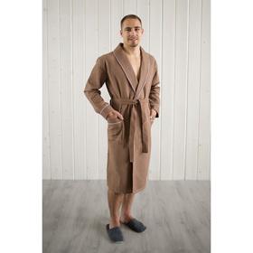 Халат мужской, шалька+кант, размер 56, шоколадный, вафля