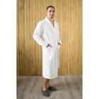 Халат мужской, шалька+кант, размер 52, белый, вафля