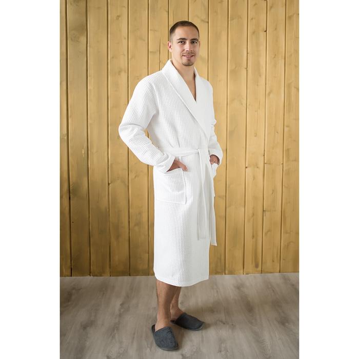 Халат мужской, шалька, размер 56, белый, вафля