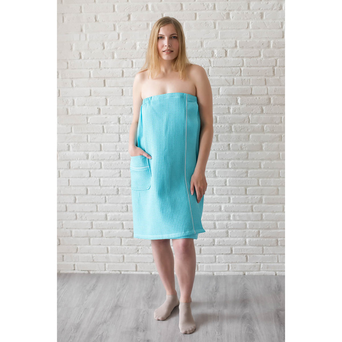 Парео женское, цвет бирюза, вафельное полотно 242 г/м2