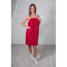 Парео женское, цвет бордовый, вафельное полотно
