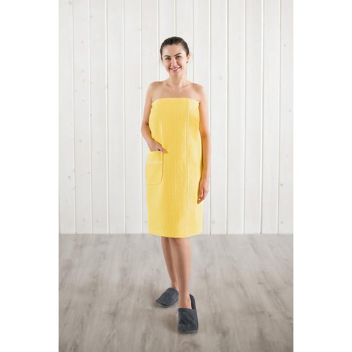 Парео вафельное женский, цвет лимон, 242г/м, хл100%