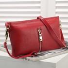 Клатч женский, 1 отдел с перегородкой, 2 наружных кармана, с ручкой, длинный ремень, цвет красный