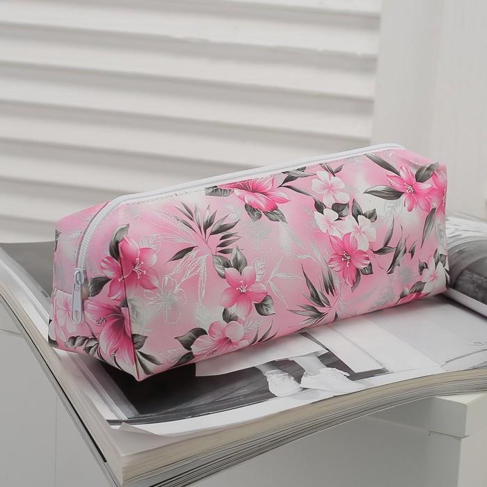 Косметичка-футляр «Цветы», отдел на молнии, цвет розовый
