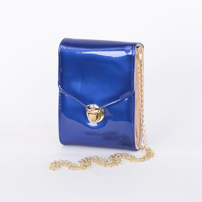 Bag, 2 division with partition shut, long chain, blue color