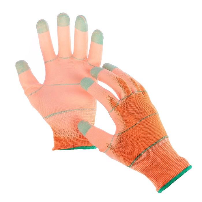Перчатки нейлоновые, с ПУ покрытием, размер 8, цвет МИКС
