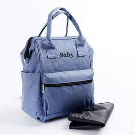 Backpack for women, for mom and baby, with changing Mat, color blue