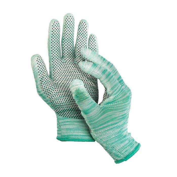 Перчатки нейлоновые, с ПУ покрытием, с ПВХ точками, размер 8, цвет МИКС