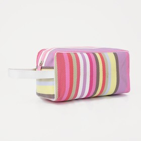 Cosmetic bag PVC, division zipper, with handle, color pink/lilac