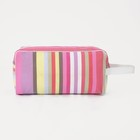 Косметичка ПВХ, отдел на молнии, с ручкой, цвет розовый/сиреневый - фото 1769873