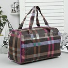 Косметичка-сумочка «Клетка», отдел на молнии, цвет коричневый/фиолетовый