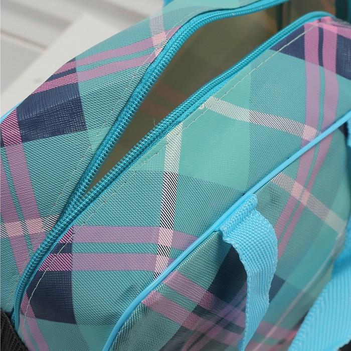 Косметичка-сумочка, отдел на молнии, цвет бирюзовый