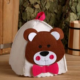 """Банная шапка с детской аппликацией """"Медвежонок"""", войлок"""