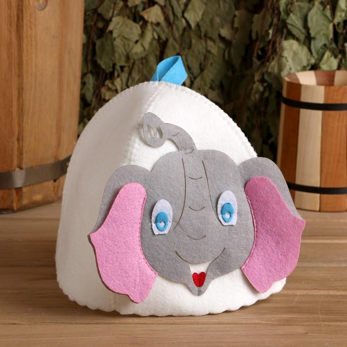 """Банная шапка с детской аппликацией """"Слонёнок"""", войлок"""