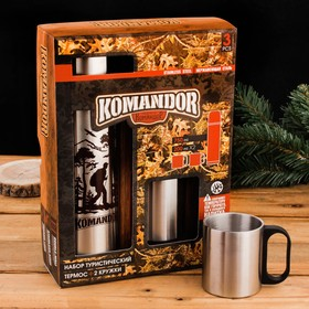 """Набор """"KOMANDOR"""", термос (750 мл), кружка (200 мл) 2 шт."""