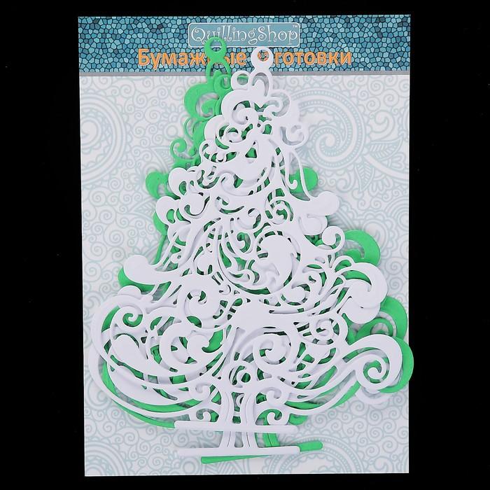 """Фигурные вырубки """"Винтажные ели"""" набор 4 шт, 12х10см, бел./зелен. (QS-V-61594-01)"""