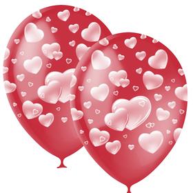 """Шар латексный 12"""" «Сердца», декоратор, 5-сторонний, набор 25 шт., цвет красный"""