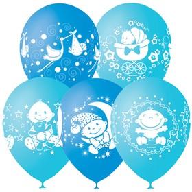 """Шар латексный 12"""" «С днём рождения! Малыш», пастель, 4-сторонний, набор 25 шт., цвет голубой"""