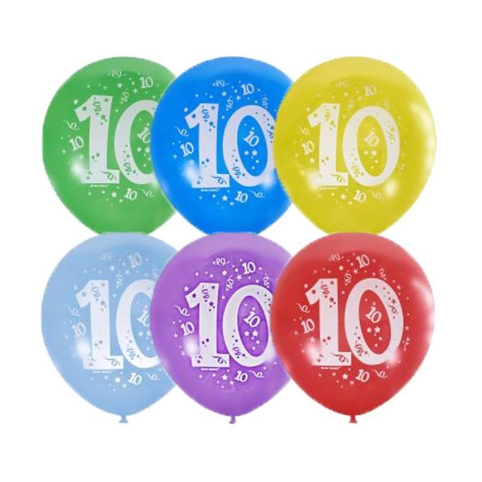 """Шар латексный 12"""" """"Цифра 10"""" пастель, 2 ст., набор 10 шт, МИКС"""