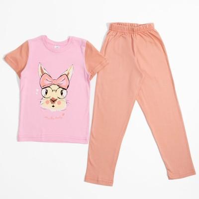Пижама для девочки, рост 98-104 см, цвет розовый