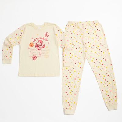 Пижама для девочки, рост 104-110 см, цвет бежевый 10603