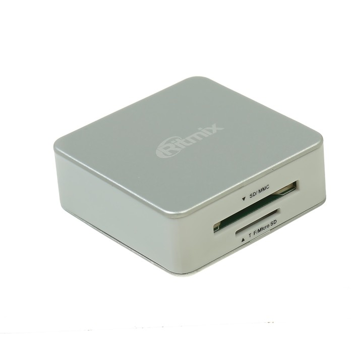 Картридер RITMIX CR-2051 silver+white, SD/microSD/MMC/MS/M2/CF/Micro Drive