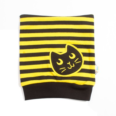 """Шапка для девочки """"Black_cat"""", рост 40 см, цвет чёрный/жёлтый ШП-156А"""