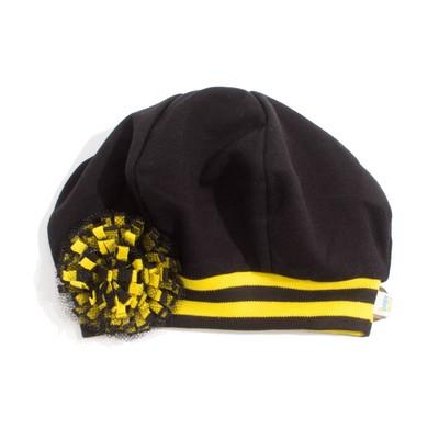 """Берет для девочки """"Black_cat"""", рост 42 см, цвет чёрный/жёлтый БТ-089"""