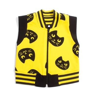 """Жилетка для девочки """"Black_cat"""", рост 104 см, цвет чёрный/жёлтый ЖТ-159"""