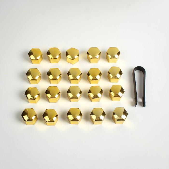 Колпачки на гайки и болты, хром золото, 19 мм, набор 20 шт.