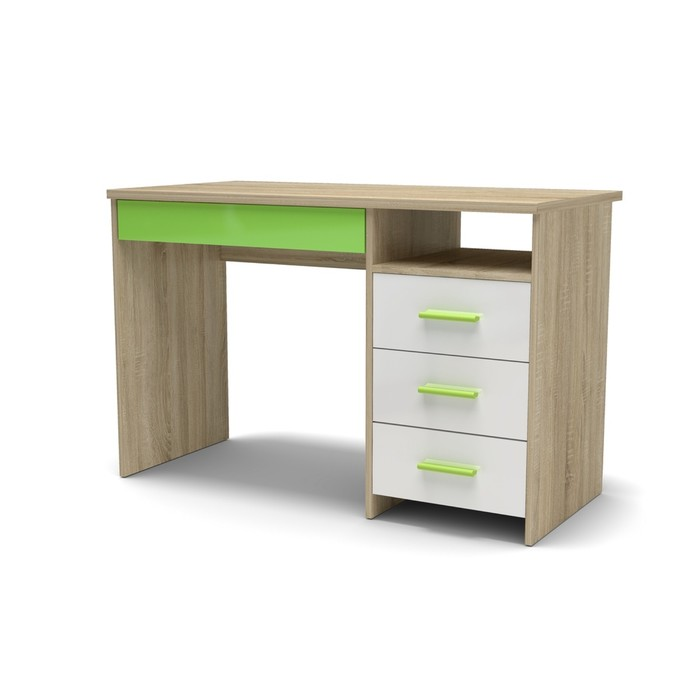Стол письменный СП-3 Н 1152х572х740 Дуб сонома/Белый глянец/Зеленое яблоко