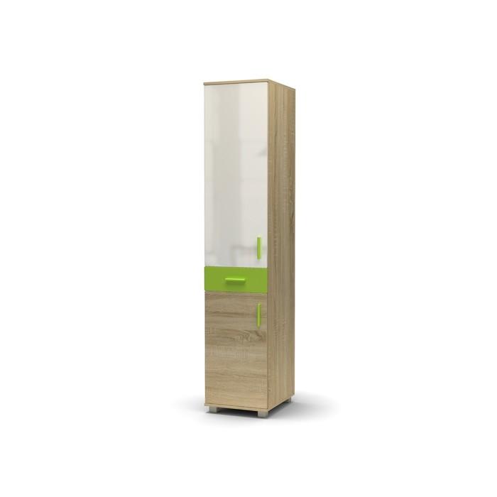 Пенал-2 МАКСИМ 431х522х2100 Дуб сонома/белый глянец/зеленое яблоко