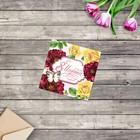 """Greeting card mini """"March 8"""", velvet flowers, 7х7см"""
