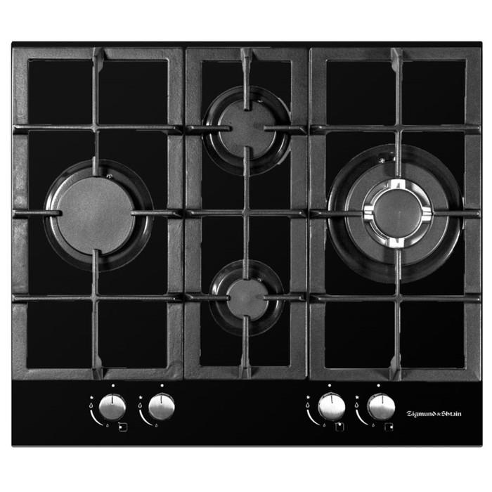 Варочная поверхность Zigmund & Shtain MN 155.61 B, 4 конфорки, газовая, черный