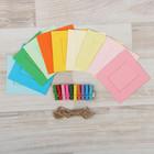 """Набор фоторамок на прищепках """"Цветные моменты"""", веревка, прищепки и фоторамки 10 шт., для фото 8,8 × 9,3 см"""