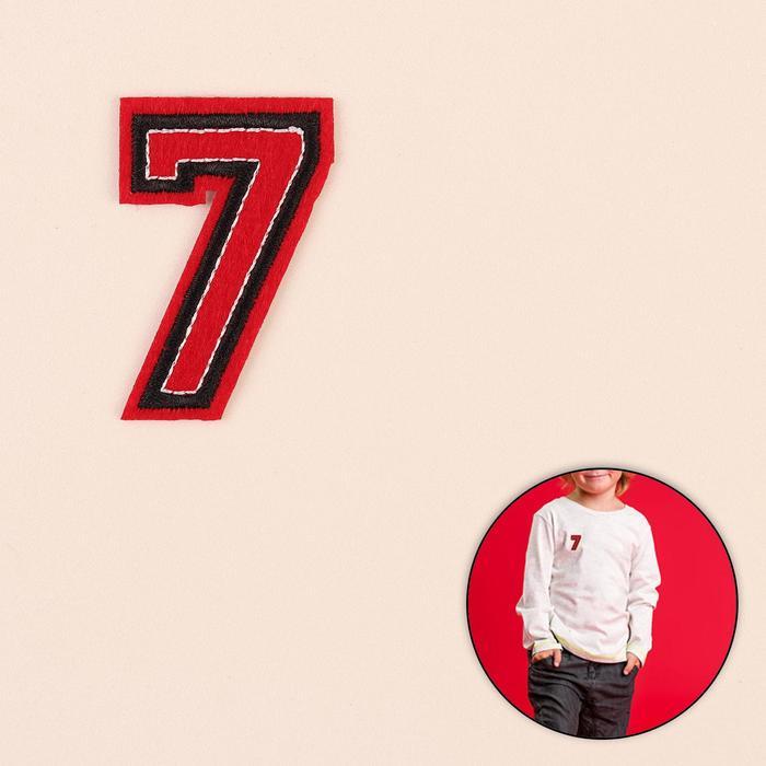 Термоаппликация «Цифра 7», 5 ? 3,5 см, цвет красный/чёрный