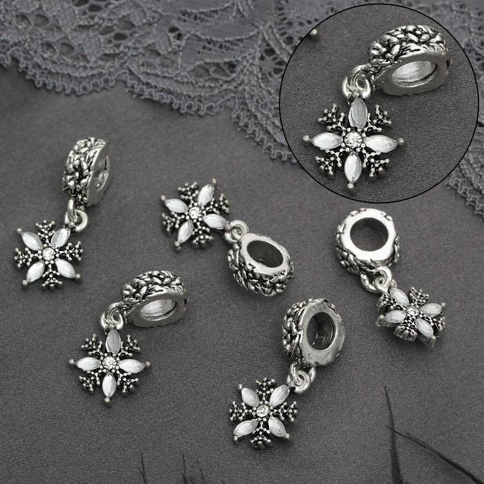 """Подвеска """"Снежинка"""", цвет белый в черненом серебре"""