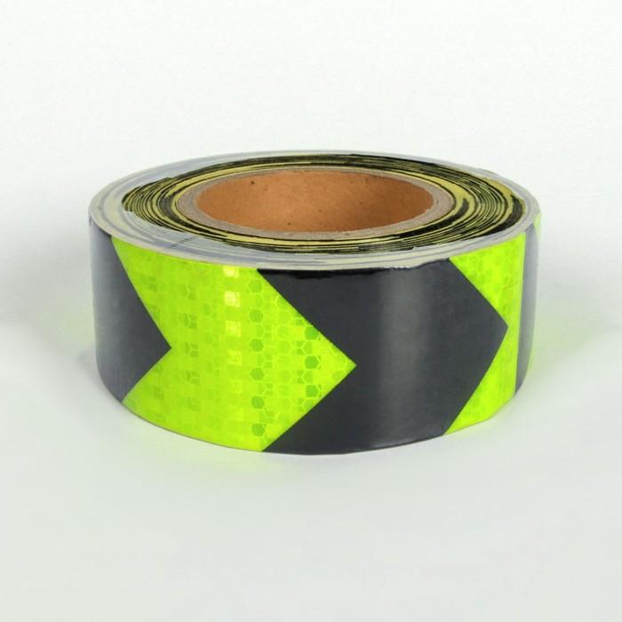 Светоотражающая контурная клейкая лента, желто-черная, 5 см х 25 м