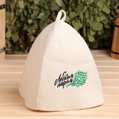 """Bath cap with embroidery """"With light steam"""", first grade"""