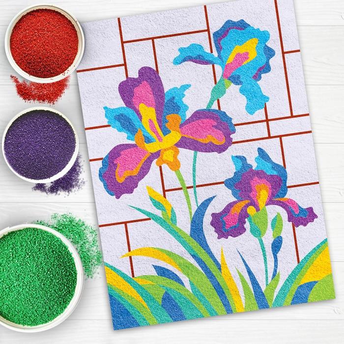 """Фреска песком для взрослых """"Ирисы"""", 10 цветов"""