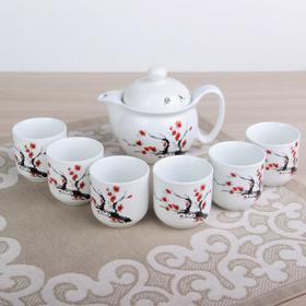 """Набор для чайной церемонии """"Сакура"""", 7 предметов: чайник 400 мл, 6 чашек 6х6 см 100 мл"""